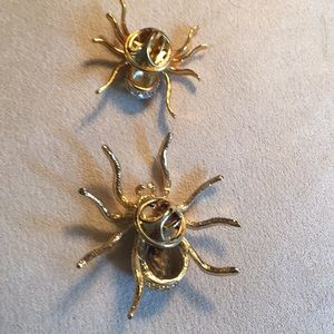 Jewelry - FUN Pair of Crystal Spider Pins